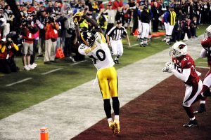 Santonio Holmes Amazing GW TD Reception For The Pittsburgh Steelers In Super Bowl XLIII.