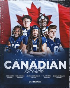 Penn State Nittany Lions Football Team Has 5 Players On The Roster From Canada Right Now.