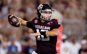 Zach Calzada Guide The Texas A&M Aggies To A Upset Victory Over The Alabama Crimson Tide At Kyle Field In College Station, TX.